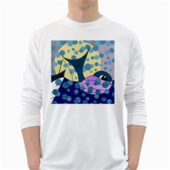 Whale White Long Sleeve T-Shirts