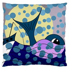 Whale Large Flano Cushion Case (Two Sides)