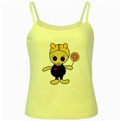 Cute doll girl Yellow Spaghetti Tank