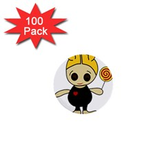 Cute doll girl 1  Mini Buttons (100 pack)