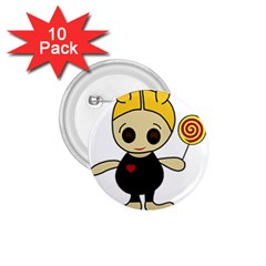 Cute doll girl 1.75  Buttons (10 pack)