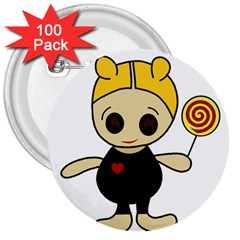 Cute doll girl 3  Buttons (100 pack)