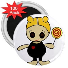 Cute doll girl 3  Magnets (100 pack)