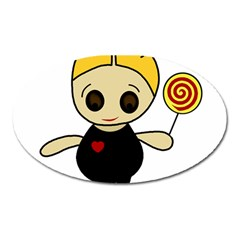 Cute doll girl Oval Magnet