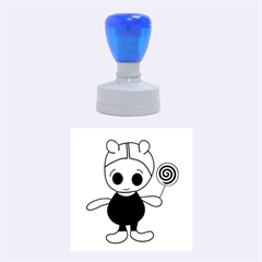 Cute doll girl Rubber Round Stamps (Medium)
