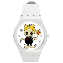 Cute doll girl Round Plastic Sport Watch (M)
