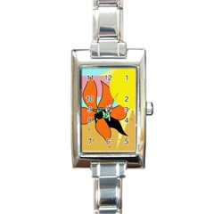 Sunflower on sunbathing Rectangle Italian Charm Watch