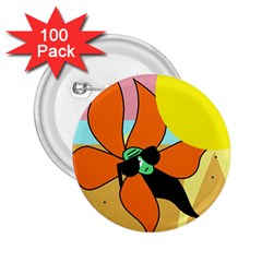 Sunflower on sunbathing 2.25  Buttons (100 pack)