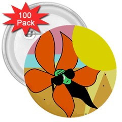 Sunflower on sunbathing 3  Buttons (100 pack)