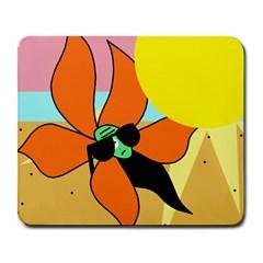 Sunflower on sunbathing Large Mousepads