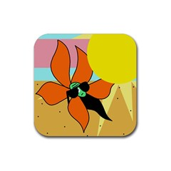 Sunflower on sunbathing Rubber Square Coaster (4 pack)