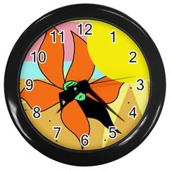 Sunflower on sunbathing Wall Clocks (Black)