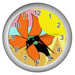 Sunflower on sunbathing Wall Clocks (Silver)