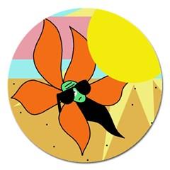 Sunflower on sunbathing Magnet 5  (Round)