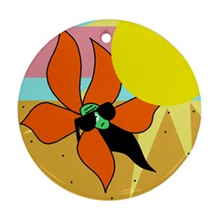 Sunflower on sunbathing Round Ornament (Two Sides)