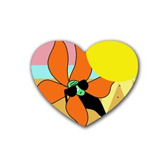 Sunflower on sunbathing Heart Coaster (4 pack)