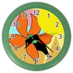 Sunflower on sunbathing Color Wall Clocks