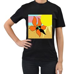 Sunflower on sunbathing Women s T-Shirt (Black)
