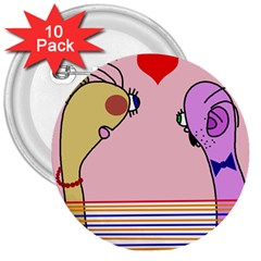 Love 3  Buttons (10 pack)