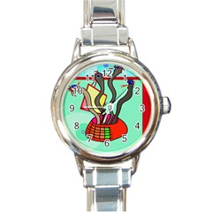 Dancing  snakes Round Italian Charm Watch