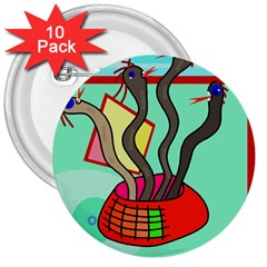 Dancing  snakes 3  Buttons (10 pack)
