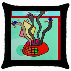 Dancing  snakes Throw Pillow Case (Black)