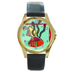 Dancing  snakes Round Gold Metal Watch