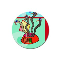 Dancing  snakes Magnet 3  (Round)