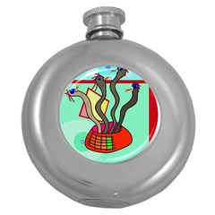 Dancing  snakes Round Hip Flask (5 oz)
