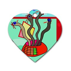 Dancing  snakes Dog Tag Heart (Two Sides)