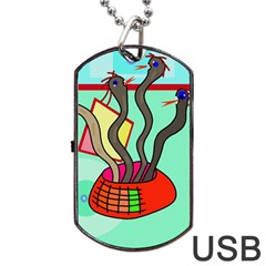 Dancing  snakes Dog Tag USB Flash (One Side)