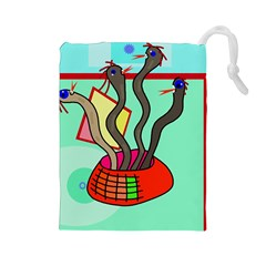 Dancing  snakes Drawstring Pouches (Large)