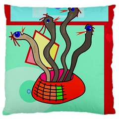 Dancing  snakes Large Flano Cushion Case (One Side)