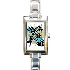 Abstract decor - Blue Rectangle Italian Charm Watch