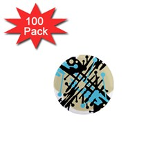 Abstract decor - Blue 1  Mini Magnets (100 pack)