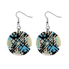 Abstract decor - Blue Mini Button Earrings