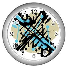 Abstract decor - Blue Wall Clocks (Silver)