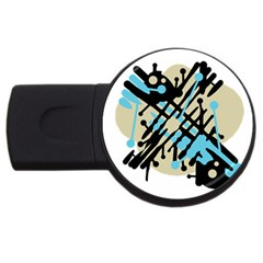 Abstract decor - Blue USB Flash Drive Round (2 GB)