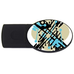 Abstract decor - Blue USB Flash Drive Oval (2 GB)