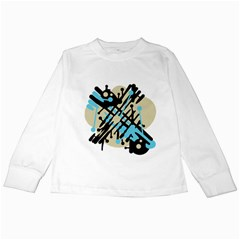 Abstract decor - Blue Kids Long Sleeve T-Shirts