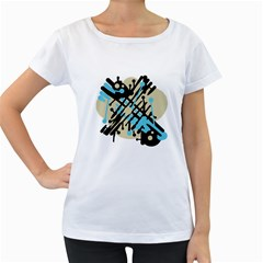 Abstract decor - Blue Women s Loose-Fit T-Shirt (White)