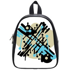 Abstract decor - Blue School Bags (Small)
