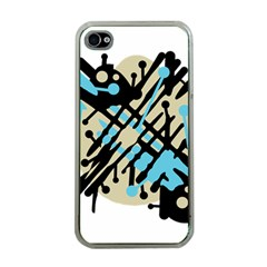 Abstract decor - Blue Apple iPhone 4 Case (Clear)