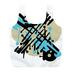 Abstract decor - Blue Full Print Recycle Bags (L)