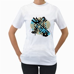 Abstract decor - Blue Women s T-Shirt (White)
