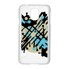 Abstract decor - Blue Samsung Galaxy S5 Case (White)