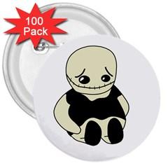 Halloween sad monster 3  Buttons (100 pack)