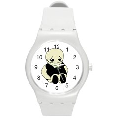 Halloween sad monster Round Plastic Sport Watch (M)