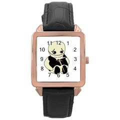 Halloween sad monster Rose Gold Leather Watch