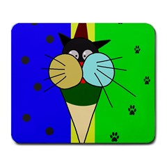 Ice cream cat Large Mousepads